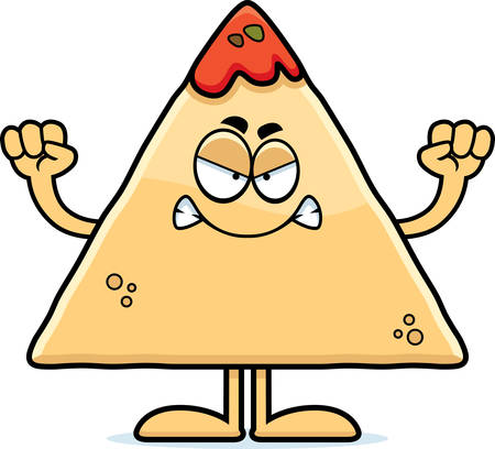 chips and salsa: A cartoon illustration of a tortilla chip with salsa looking angry.