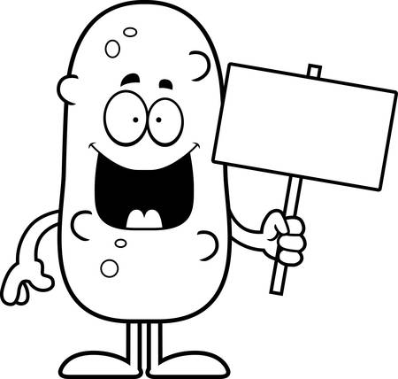pickle: A cartoon illustration of a pickle holding a sign.
