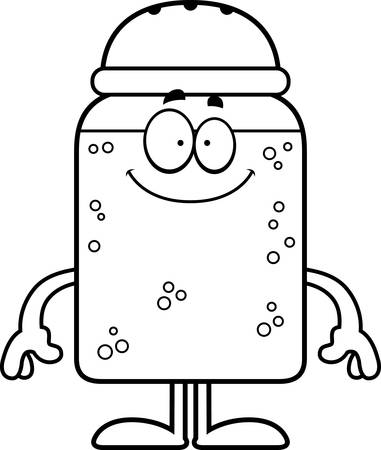 A cartoon illustration of a salt shaker looking happy. Ilustração