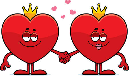 king of hearts: A cartoon illustration of the king and queen of hearts holding hands.