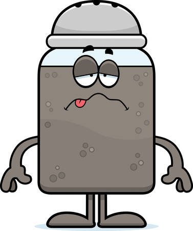nauseous: A cartoon illustration of a pepper shaker looking sick. Illustration