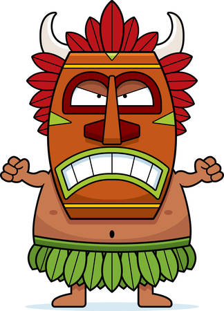 A cartoon illustration of a witch doctor looking angry. Vettoriali