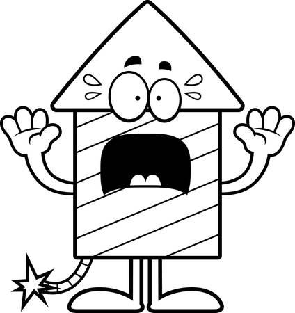 skyrocket: A cartoon illustration of a firework rocket looking scared. Illustration