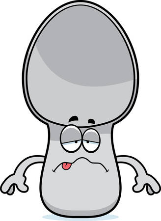 nauseous: A cartoon illustration of a spoon looking sick.