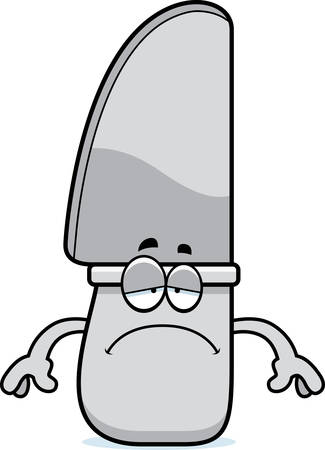 A cartoon illustration of a knife looking sad.