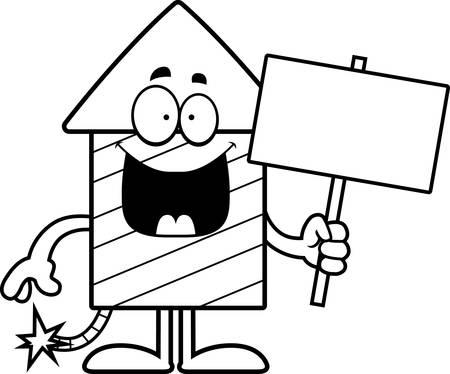 A cartoon illustration of a firework rocket holding a sign. 版權商用圖片 - 43033520