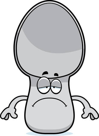 A cartoon illustration of a spoon looking sad.