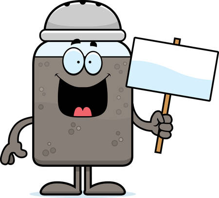 A cartoon illustration of a pepper shaker holding a sign.