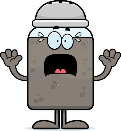 SHAKER: A cartoon illustration of a pepper shaker looking scared.