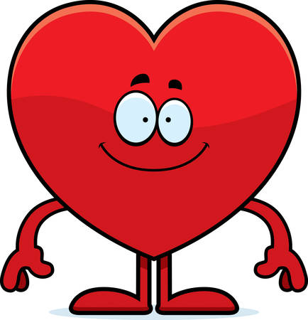 A cartoon illustration of a heart card suit looking happy.