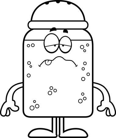 A cartoon illustration of a salt shaker looking sick.