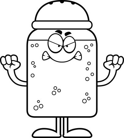 A cartoon illustration of a salt shaker looking angry. Ilustração