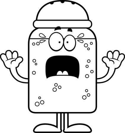 salt shaker: A cartoon illustration of a salt shaker looking scared. Illustration