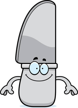 butter knife: A cartoon illustration of a knife looking happy.