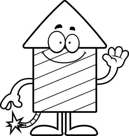 A cartoon illustration of a firework rocket waving. 版權商用圖片 - 43032883