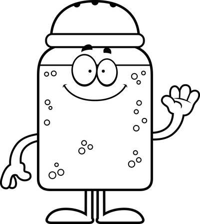 A cartoon illustration of a salt shaker waving. 일러스트