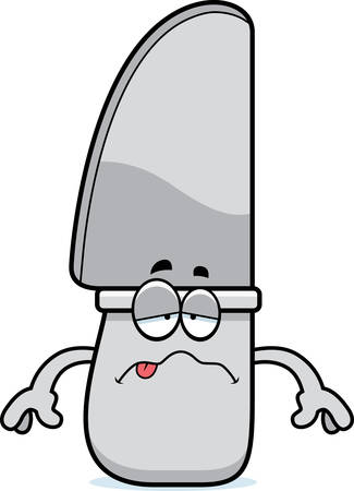 butter knife: A cartoon illustration of a knife looking sick.