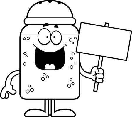 salt shaker: A cartoon illustration of a salt shaker holding a sign.