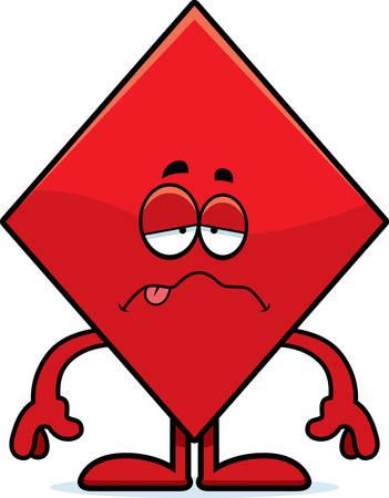 A cartoon illustration of a diamond card suit looking sick.