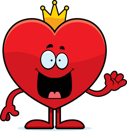 king of hearts: A cartoon illustration of the king of hearts waving. Illustration