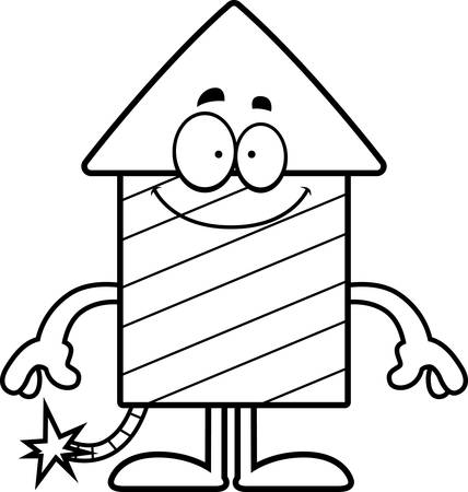 A cartoon illustration of a firework rocket looking happy.