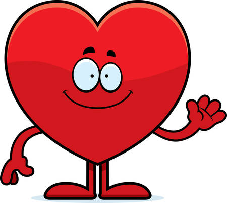 A cartoon illustration of a heart card suit waving.
