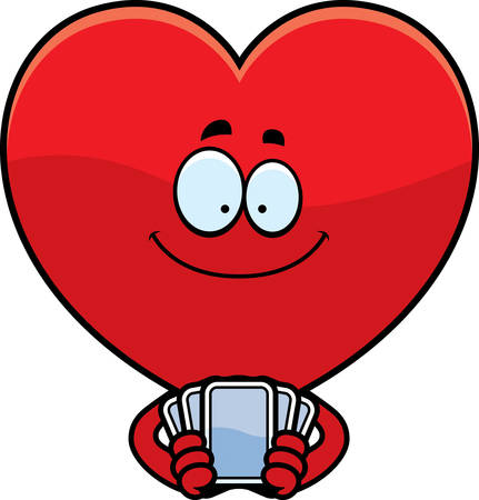 A cartoon illustration of a heart card suit playing cards.
