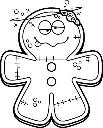 intoxicated: A cartoon illustration of a gingerbread zombie looking drunk.