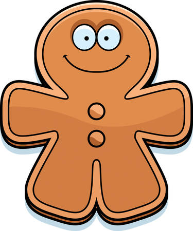 smilling: A cartoon illustration of a gingerbread man looking happy.