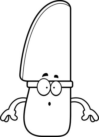 A cartoon illustration of a knife looking surprised.