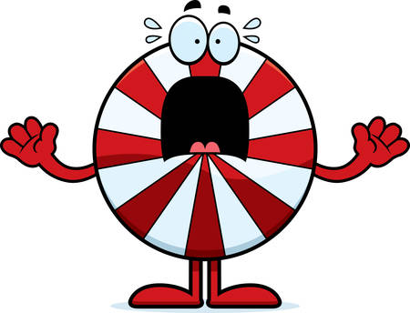 A cartoon illustration of a peppermint looking scared. Ilustracja