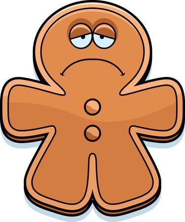 frowning: A cartoon illustration of a gingerbread man looking sad. Illustration