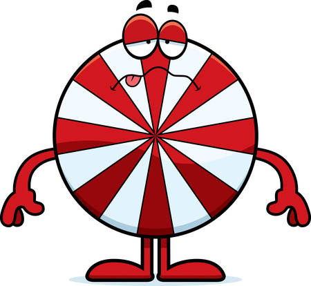 nauseous: A cartoon illustration of a peppermint looking sick.