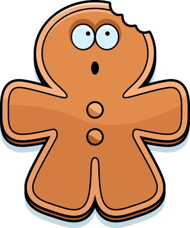 eaten: A cartoon illustration of a gingerbread man with a bite taken out of him.