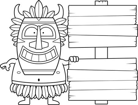 wooden mask: A cartoon illustration of a witch doctor with a wooden sign. Illustration
