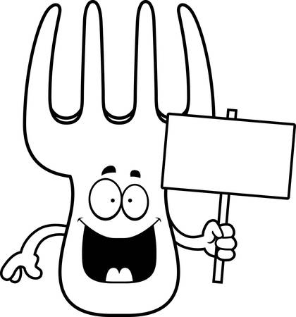 A cartoon illustration of a fork holding a sign.
