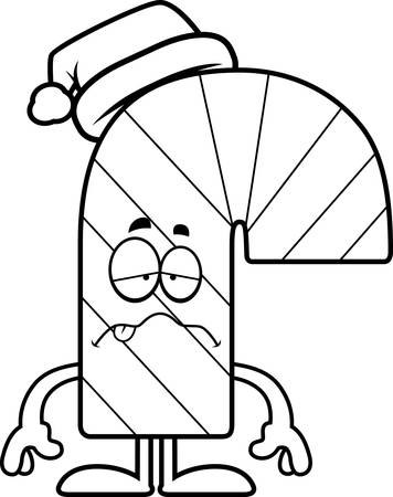 nauseous: A cartoon illustration of a candy cane looking sick. Illustration