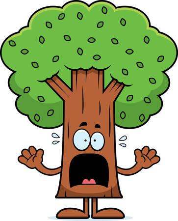 megrémült: A cartoon illustration of a tree looking scared.