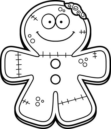smirking: A cartoon illustration of a gingerbread zombie looking happy.