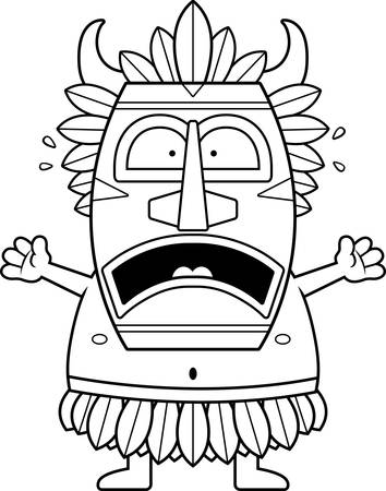 A cartoon illustration of a witch doctor looking scared. Vettoriali