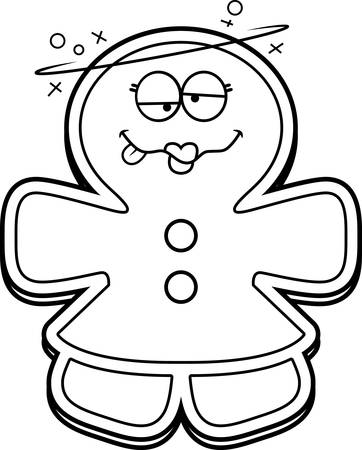 A cartoon illustration of a gingerbread woman looking drunk. Illustration