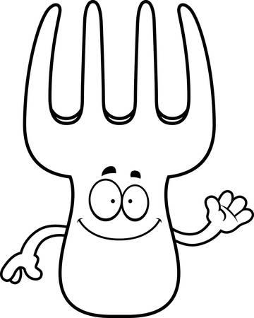 A cartoon illustration of a fork waving.