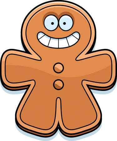 smilling: A cartoon illustration of a gingerbread man smiling.