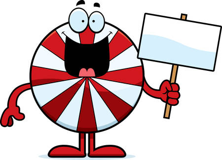 peppermint: A cartoon illustration of a peppermint holding a sign.