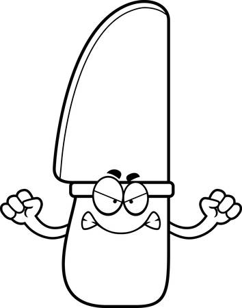 A cartoon illustration of a knife looking angry.