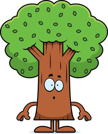 astonish: A cartoon illustration of a tree looking surprised. Illustration