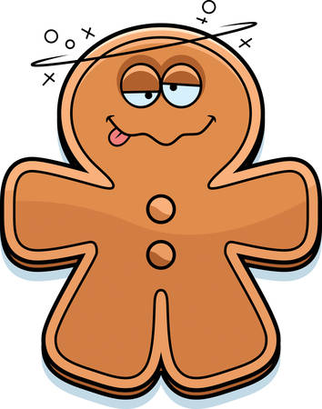 drunk: A cartoon illustration of a gingerbread man looking drunk.