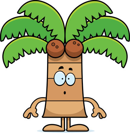 frond: A cartoon illustration of a palm tree looking surprised.