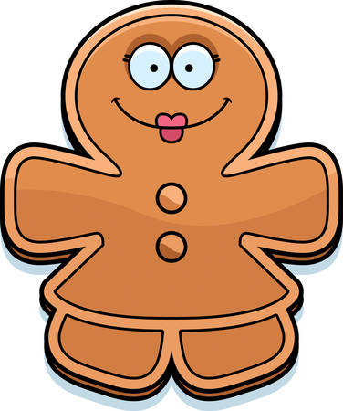 A cartoon illustration of a gingerbread woman looking happy.