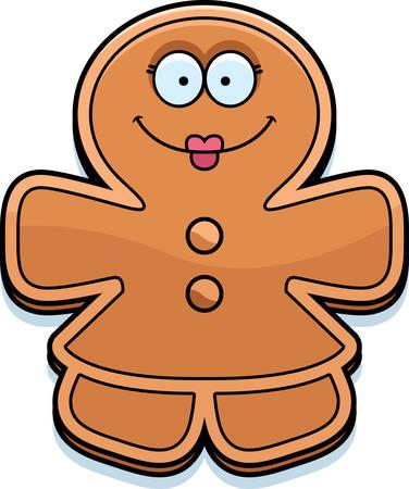 smirking: A cartoon illustration of a gingerbread woman looking happy.